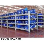ชั้นวางสินค้าในโรงงาน (Flow rack) - จำหน่าย เคมีภัณฑ์  คิวเบสท์ เอ็นเตอร์ไพร์ส