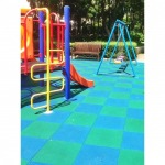 Shockproof SBR rubber flooring and artificial grass - Play ground around Thailand Hippo Playground
