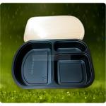 กล่องอาหาร 3 ช่องทรงโค้ง สีดำ - รับผลิตบรรจุภัณฑ์อาหาร