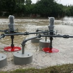 งานติดตั้งเครื่องเติมอากาศผิวน้ำ (SURFACE AERATORS - บริษัท เอทีพี อินโนเวชั่นส์ จำกัด