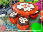 โต๊ะหินอ่อนลายสตอเบอรี - ร้านสวนโต๊ะหินอ่อน นนทบุรี