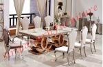 โต๊ะอาหารหินอ่อน 2.4x1.15 เมตร พร้อมเก้าอี้ 8 ตัว - ศิริไพศาลรุ่งเรือง เฟอร์นิเจอร์