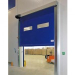 Rapid roll-up doors with auto-repairing full curtain