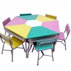 โต๊ะเก้าอี้นักเรียนแบบกลุ่ม - บริษัท เจริญผลฮาร์ดเนสสตีลสุรินทร์ จำกัด