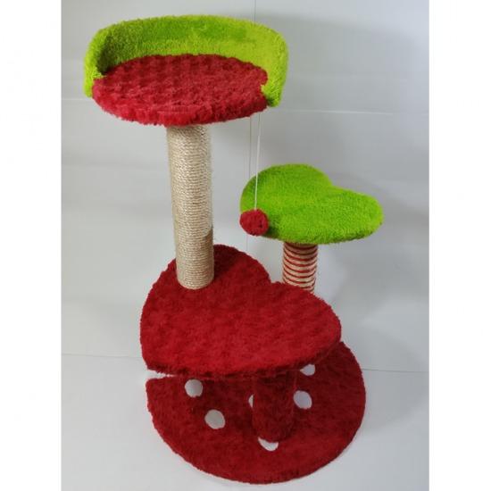 คอนโดแมวลายสตรอเบอรี่สีแดง คอนโดแมว ที่ลับเล็บแมว ที่ฝนเล็บแมว ของเล่นแมว