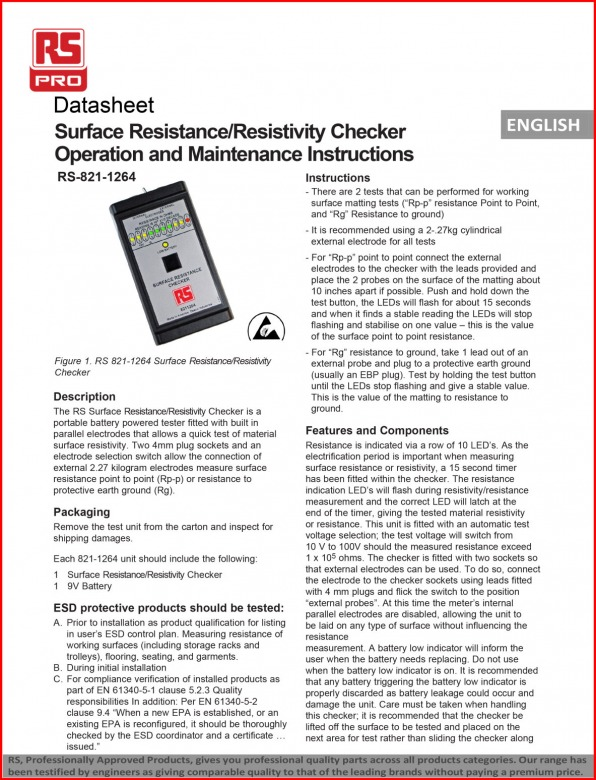 Surface Resistance Checker